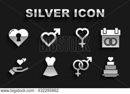 Set Woman Dress, Calendar, Wedding Cake With Heart, Gender, Heart Hand, Female Gender Symbol, Keyhol