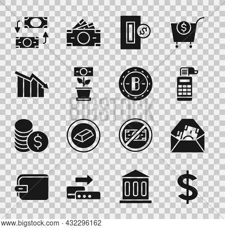 Set Dollar Symbol, Envelope With Dollar, Cash Register Machine, Inserting Coin, Money Plant The Pot,