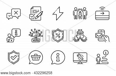 Technology Icons Set. Included Icon As Online Voting, Contactless Payment, Energy Signs. Ship, Shopp
