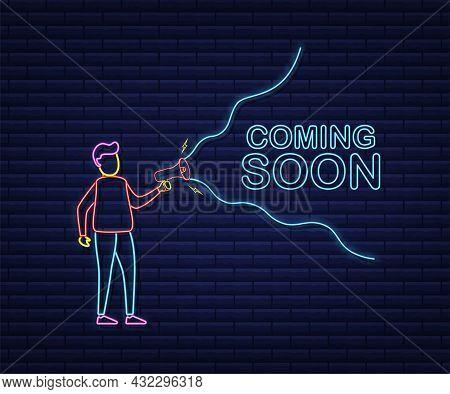 Megaphone Label With Coming Soon. Neon Style. Megaphone Banner. Web Design. Vector Stock Illustratio