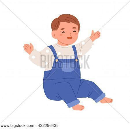 Happy Baby Sitting And Laughing With Joy. Smiling Merry Child. Laughter Of Cute Little Kid. Adorable