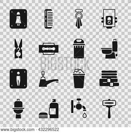 Set Shaving Razor, Towel Stack, Toilet Bowl, On Hanger, Blade, Clothes Pin, Female Toilet And Trash