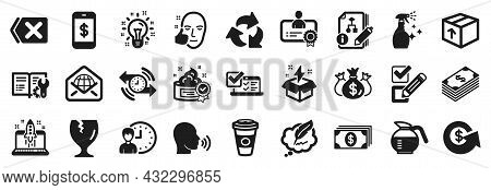 Set Of Simple Icons, Such As Web Mail, Smartphone Payment, Cream Icons. Check Investment, Takeaway C