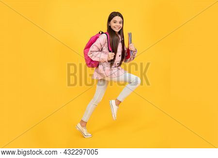 New Class. Happy Kid Run With Backpack. Tween Child Carry School Bag. Childhood And Education