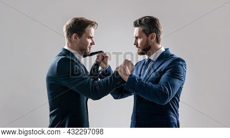Two Angry Businessmen Fighting And Arguing On Businessmeeting Have Business Competition, Leadership.