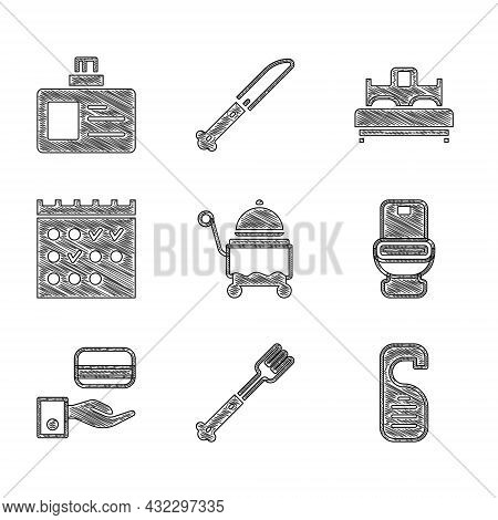 Set Covered With Tray, Fork, Please Do Not Disturb, Toilet Bowl, Digital Door Lock, Hotel Booking Ca