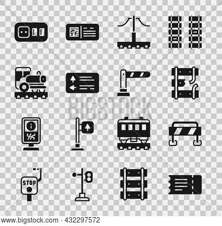 Set Train Ticket, Road Barrier, Broken Rails On Railway, Railway, Traffic Signpost, Vintage Locomoti