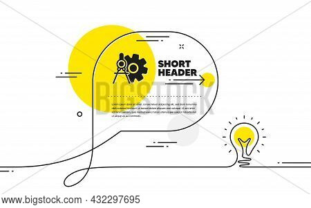 Cogwheel Dividers Icon. Continuous Line Idea Chat Bubble Banner. Engineering Tool Sign. Cog Gear Sym