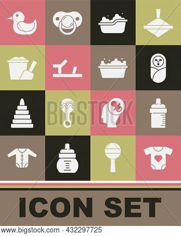 Set Baby Clothes, Bottle, Newborn Baby Infant Swaddled, Bathtub, Shoes, Sand Bucket With Shovel, Rub