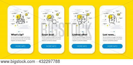Vector Set Of Ranking Star, Salary Employees And Graph Chart Line Icons Set. Ui Phone App Screens Wi