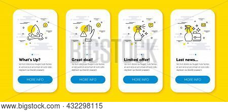 Vector Set Of Washing Cleanser, Water Splash And Dont Touch Line Icons Set. Ui Phone App Screens Wit