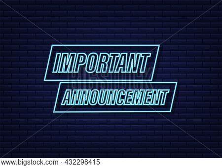Banner With Important Announcement. Blue Important Announcement Sign Icon. Exclamation Danger Sign.