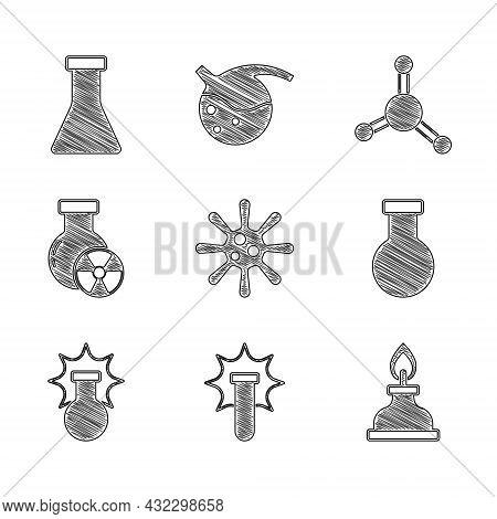 Set Bacteria, Chemical Explosion, Alcohol Or Spirit Burner, Test Tube And Flask, Radiation, Molecule