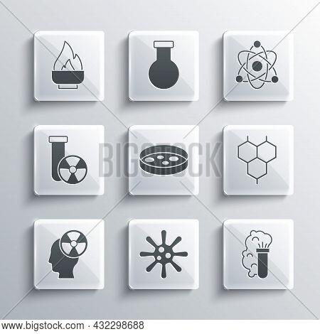 Set Bacteria, Chemical Explosion, Formula, Petri Dish With Bacteria, Head And Radiation Symbol, Test