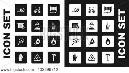 Set Fire Hose Reel, Firefighter, In Burning Garage, Walkie Talkie, Gas Mask, Flame And Axe Icon. Vec