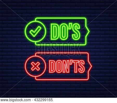 Dos And Donts Like Thumbs Up Or Down. Neon Icon. Vector Stock Illustration.