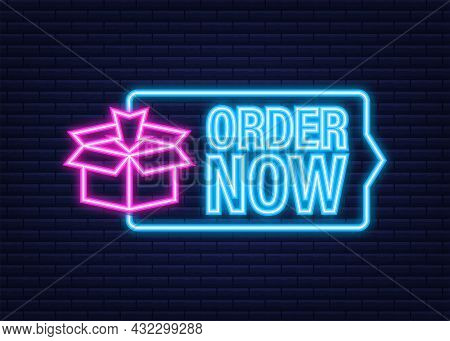 Order Now For Marketing Design. Web, Graphic, Banner. Website Icon Symbol. Website Template. Neon Ic