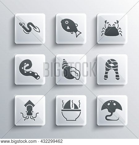 Set Shark Fin Soup, Stingray, Fish Steak, Scallop Sea Shell, Octopus, Of Tentacle, Eel Fish And Crab