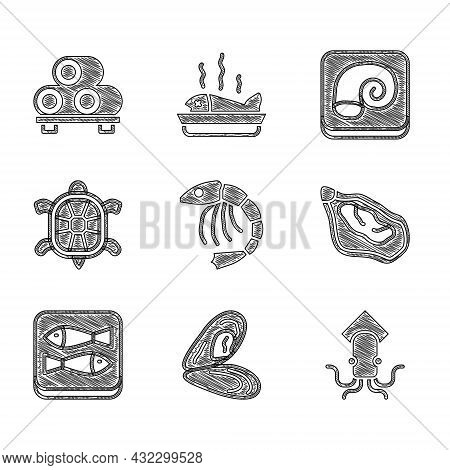 Set Shrimp, Mussel, Octopus, Canned Fish, Turtle, On Plate And Sushi Cutting Board Icon. Vector
