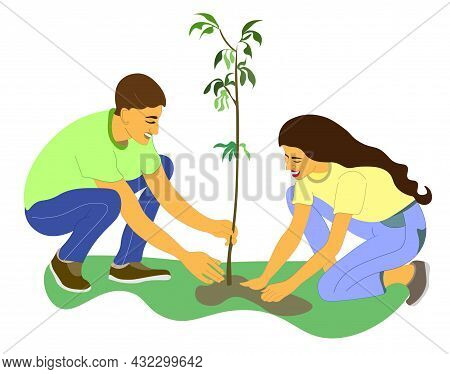 Young Man And Woman Are Planting Tree. Gardening, Garden Tools, Spring, Stalk. The Couple Plants See