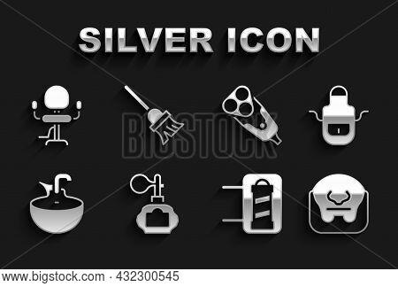 Set Aftershave, Barber Apron, Mustache And Beard, Shop Pole, Washbasin, Electric Razor Blade, Barber