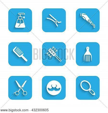 Set Hairbrush, Mustache, Hand Mirror, Barrette, Scissors Hairdresser, Electrical Clipper And Cream C