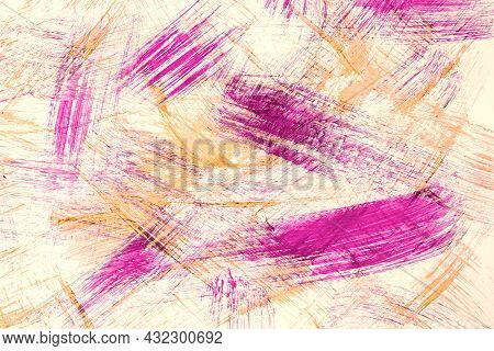 Abstract Art Background Purple And Beige Colors. Watercolor Painting On Canvas With Lilac Color Stro