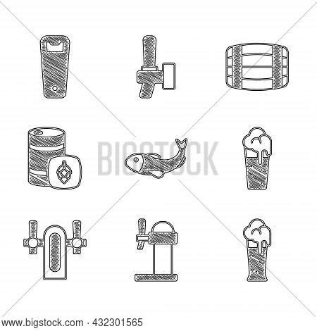 Set Dried Fish, Dispenser Beer, Glass Of, Beer Tap, Metal Keg, Wooden Barrel And Bottle Opener Icon.
