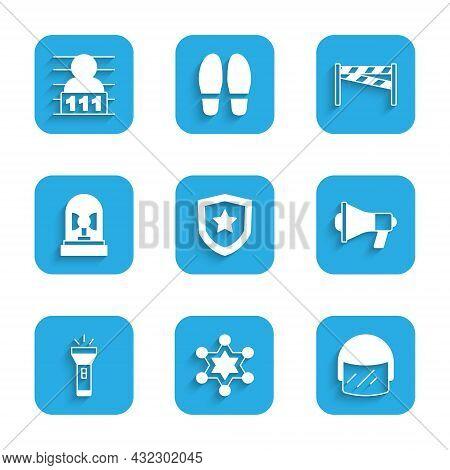 Set Police Badge, Hexagram Sheriff, Helmet, Megaphone, Flashlight, Flasher Siren, Crime Scene And Su