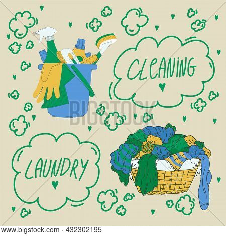 Poster For The Laundry Room. An Illustration With A Bucket And A Basket With Dirty Laundry In The Do