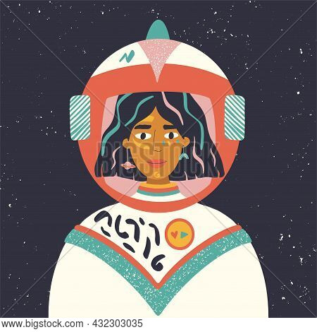 Astronaut In Space. Space Travel And Exploration. Hand Drawn Vector Illustration Of Woman In Spacesu