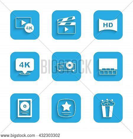 Set Movie, Film, Media Projector, Walk Of Fame Star, Popcorn In Cardboard Box, Cinema Auditorium Wit