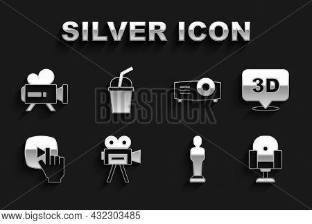 Set Retro Cinema Camera, 3d Word, Director Movie Chair, Movie Trophy, Online Play Video, Movie, Film