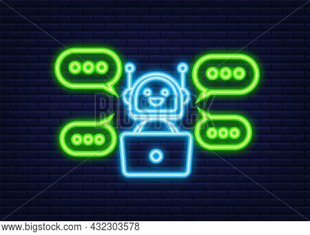 Robot Icon. Bot Sign Design. Chatbot Symbol Concept. Voice Support Service Bot. Neon Icon. Online Su