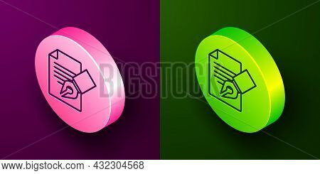 Isometric Line Exam Sheet And Pencil With Eraser Icon Isolated On Purple And Green Background. Test
