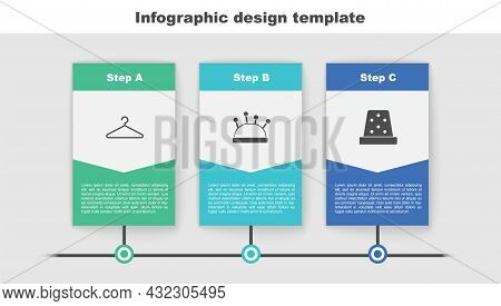 Set Hanger Wardrobe, Needle Bed And Needles And Thimble For Sewing. Business Infographic Template. V