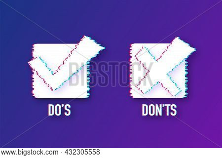 Dos And Donts Like Thumbs Up Or Down. Glitch Icon. Vector Stock Illustration.