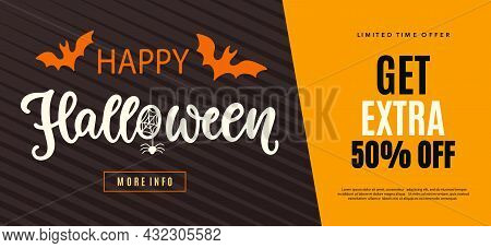 Happy Halloween Sale Web Banner Template. Autumn Holiday Promo Offer