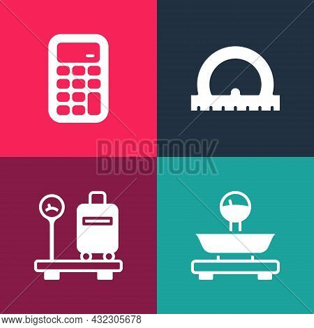 Set Pop Art Scales, With Suitcase, Protractor And Calculator Icon. Vector