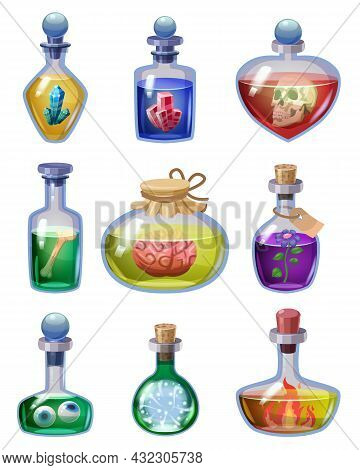 Set Of Bottles Magic Potion. Game Icons Liquid Elixir Colorful With Scull, Crystal, Bone, Blood, Fro