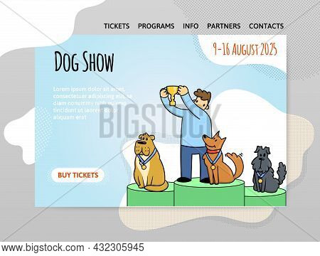 Design Template For Dog Show, Exhibition Or Dog Training Courses. Dogs With The Owner On The Podium.