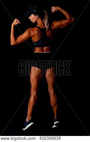 Fitness Female Woman With Muscular Body, Do Her Workout. Attractive Sexy Fitness Woman, Trained Fema