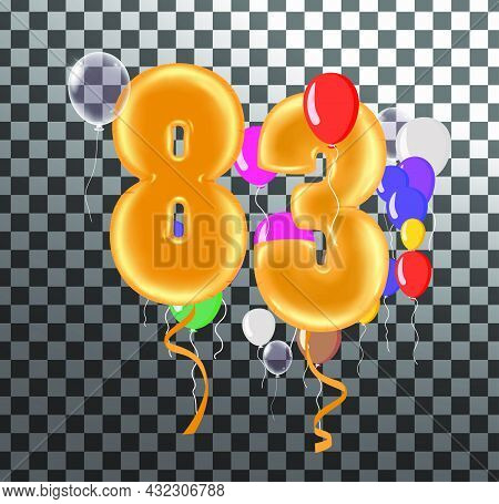 Happy Birthday Eighty Two Year, Fun Celebration Anniversary Greeting Card With Number, Balloon On Ba