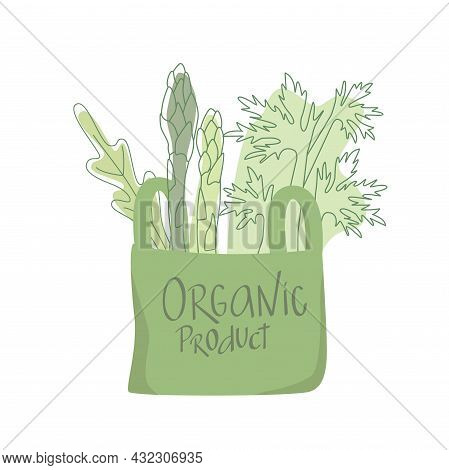 Organic Product Sign On Eco Shopping Paper Bag With Vegetables Outline Flat Illustration. Zero Waste