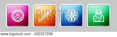 Set Line Greek Shield, Medieval Spear, Old Wooden Wheel And Socrates. Colorful Square Button. Vector