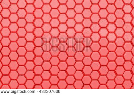 Pattern Clean Grid Uneven Design. Red Ceramic Tiles Texture Background. Red Background And White Tex