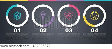Set Line Baby On Shield, Rattle Baby Toy, Inside Heart And Bib. Business Infographic Template. Vecto