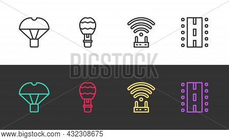Set Line Box Flying On Parachute, Hot Air Balloon, Router And Wi-fi Signal And Airport Runway On Bla