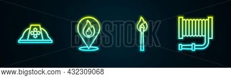 Set Line Firefighter Helmet, Location With Fire Flame, Burning Match And Hose Reel. Glowing Neon Ico