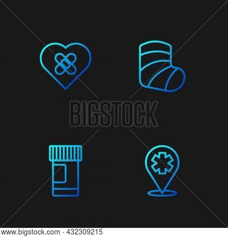 Set Line Location With Cross Hospital, Medicine Bottle And Pills, Healed Broken Heart And Gypsum. Gr